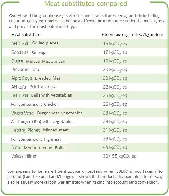 tabel meat substitutes English version