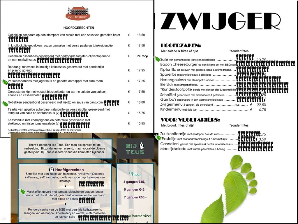 menukaart roskam Zwijger Bij Teus Voetprints