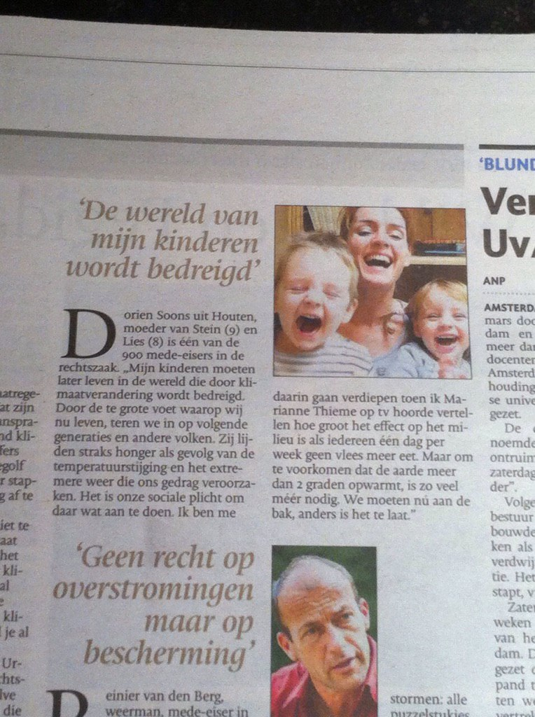 Limburgs Dagblad 14 april 2014 klimaatzaak